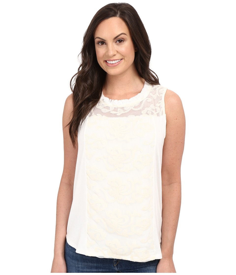 Petrol - Touch of Lace Tank Top (Ivory) Women's Sleeveless