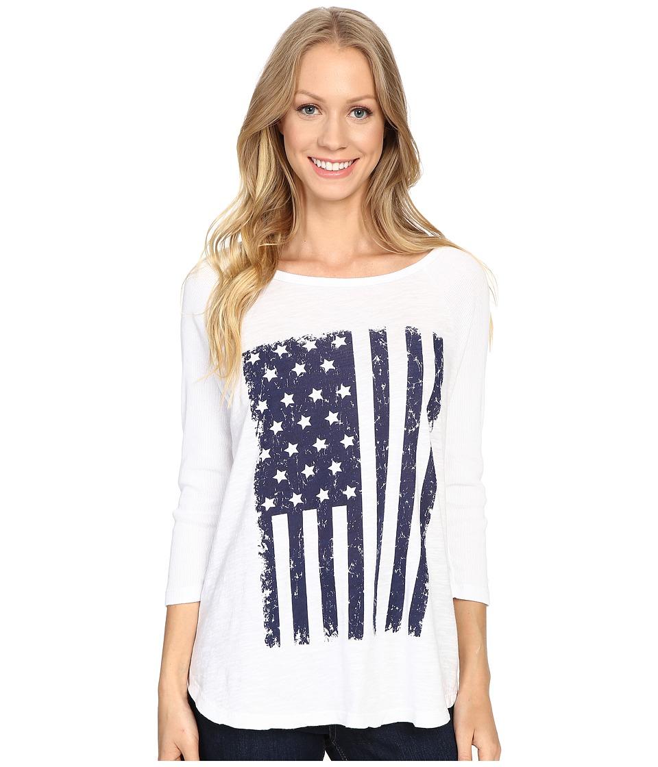 Allen Allen - White Tee w/ Flag (White) Women's T Shirt