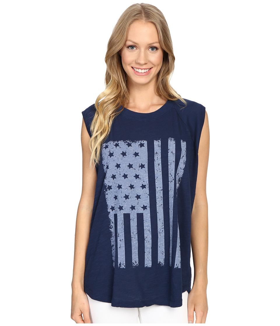 Allen Allen - Raglan Sleeveless Tee w/ White Flag (Lapis) Women's T Shirt