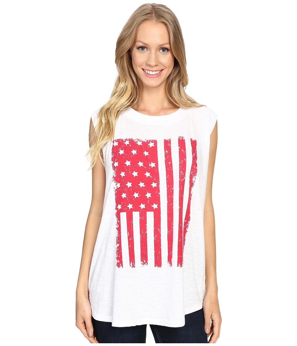 Allen Allen - Raglan Sleeveless Tee w/ White Flag (White) Women's T Shirt