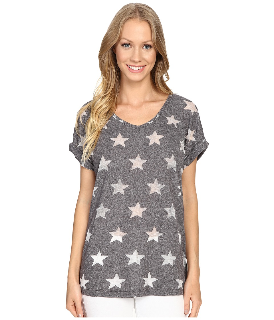 Allen Allen - Allover Star Short Sleeve Tee (Jet Grey) Women's T Shirt