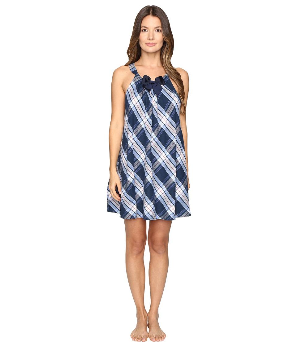 Kate Spade New York - Flannel Chemise (Winterly Plaid Navy) Women's Pajama