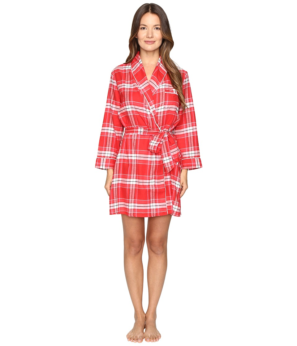 Kate Spade New York - Flannel Robe (Winterly Plaid Red) Women's Robe