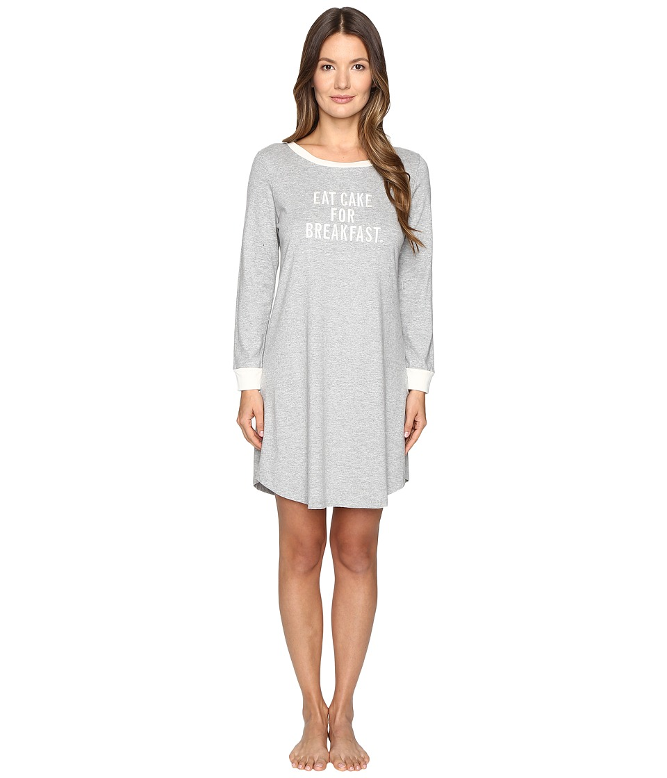Kate Spade New York - Brushed Jersey Sleepshirt (Grey Heather Eat Cake For Breakfast) Women's Pajama