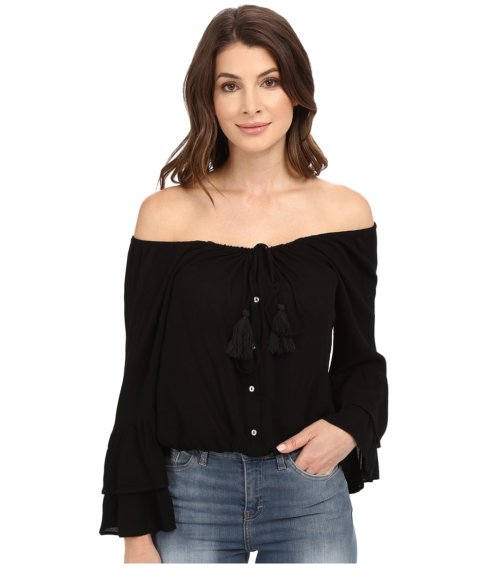 Culture Phit - Coralee Woven Top with Tassels (Black) Women's Clothing