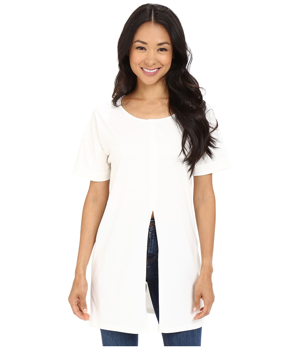 Culture Phit - Auster Short Sleeve Top with Front Slit (Off-White) Women's Clothing