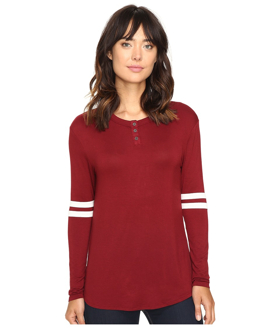 Culture Phit - Braylin Long Sleeve Top (Burgundy/White) Women's Clothing