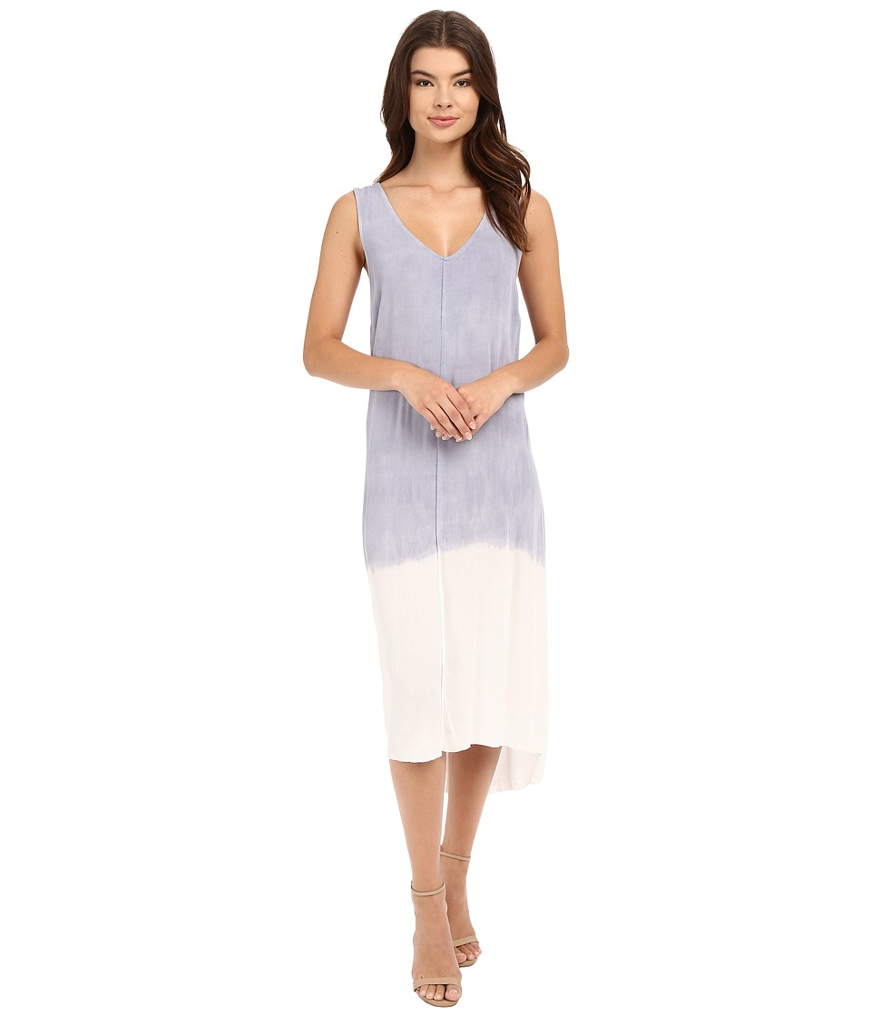 Culture Phit Caraway Sleeveless Midi Dress with Slits (Blue/White) Women
