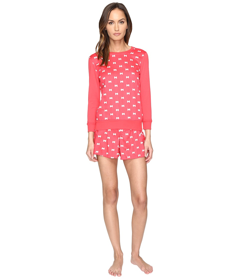 Kate Spade New York - Sateen Modal Jersey Skort Pajama Set (Bow Tie Mini Geranium) Women's Pajama Sets