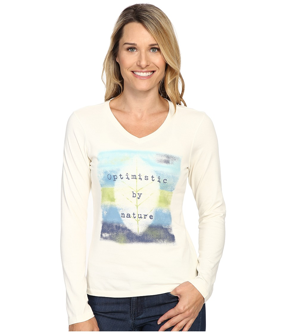 Life is good - Optimistic By Nature Long Sleeve Crusher Vee (Simply Ivory) Women's Long Sleeve Pullover