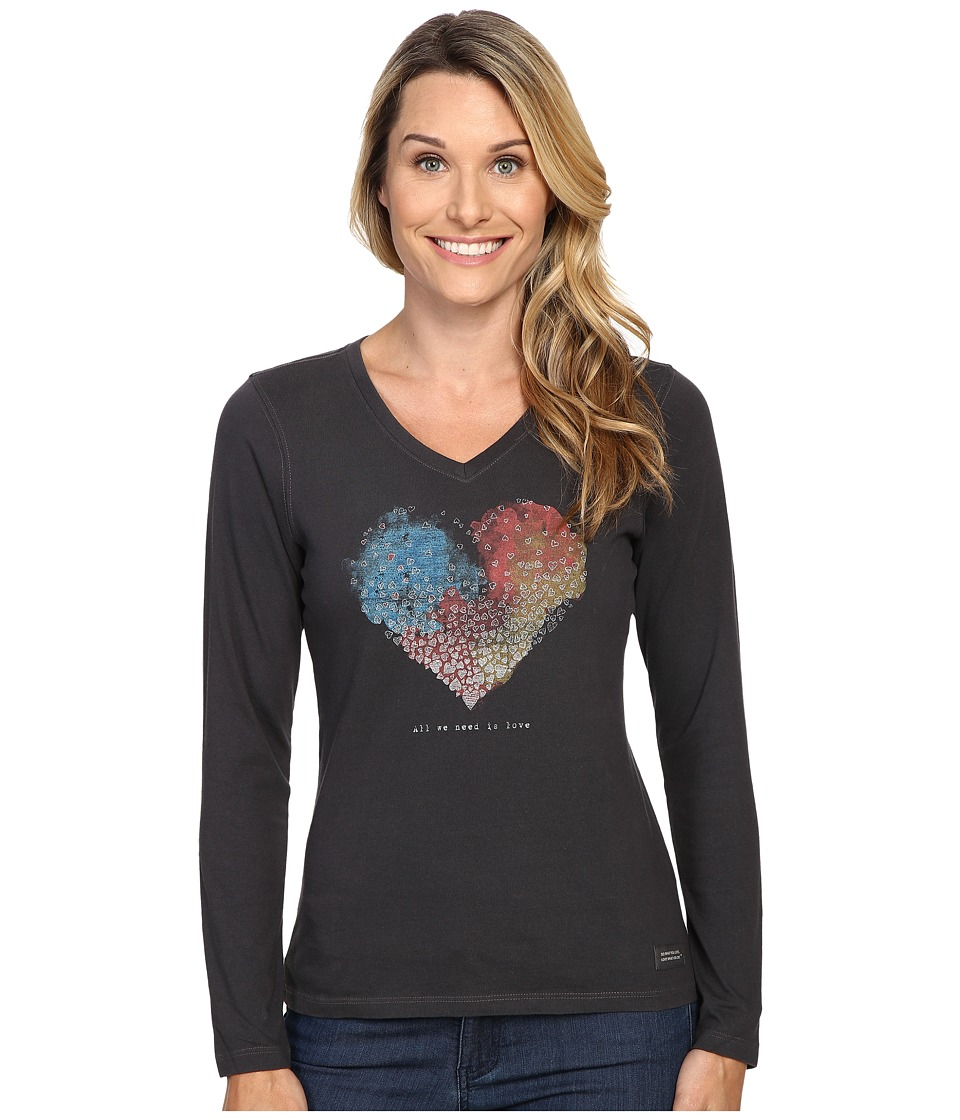 Life is good - All We Need Is Love Long Sleeve Crusher Vee (Night Black) Women's Long Sleeve Pullover