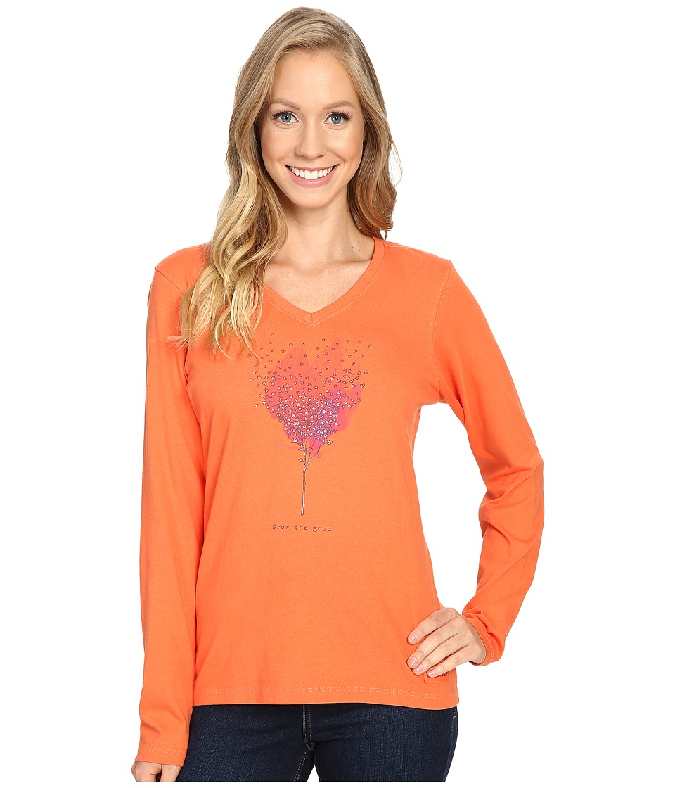 Life is good - Grow The Good Tree Long Sleeve Crusher Vee (Coral Orange) Women's Long Sleeve Pullover