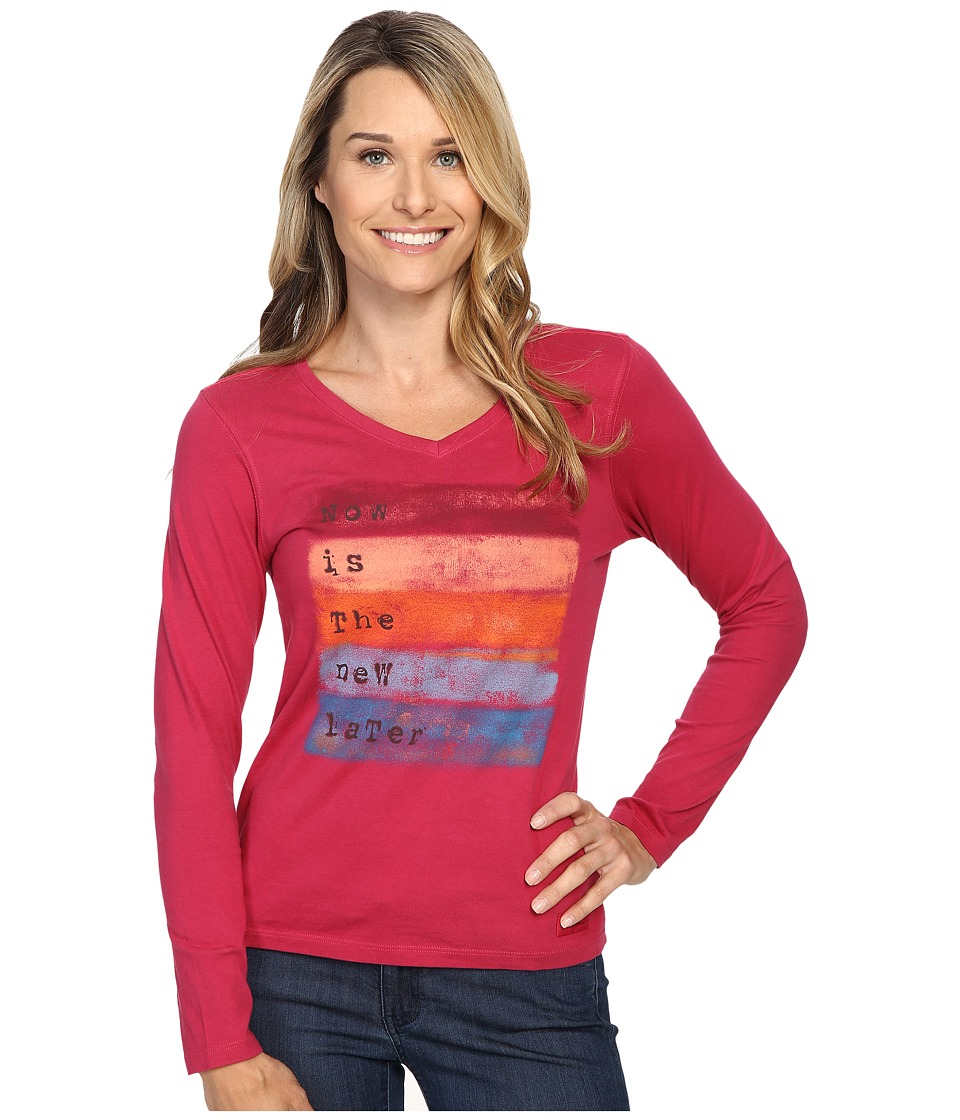 Life is good - Now Is The New Later Long Sleeve Crusher Vee (Rose Berry) Women's Long Sleeve Pullover