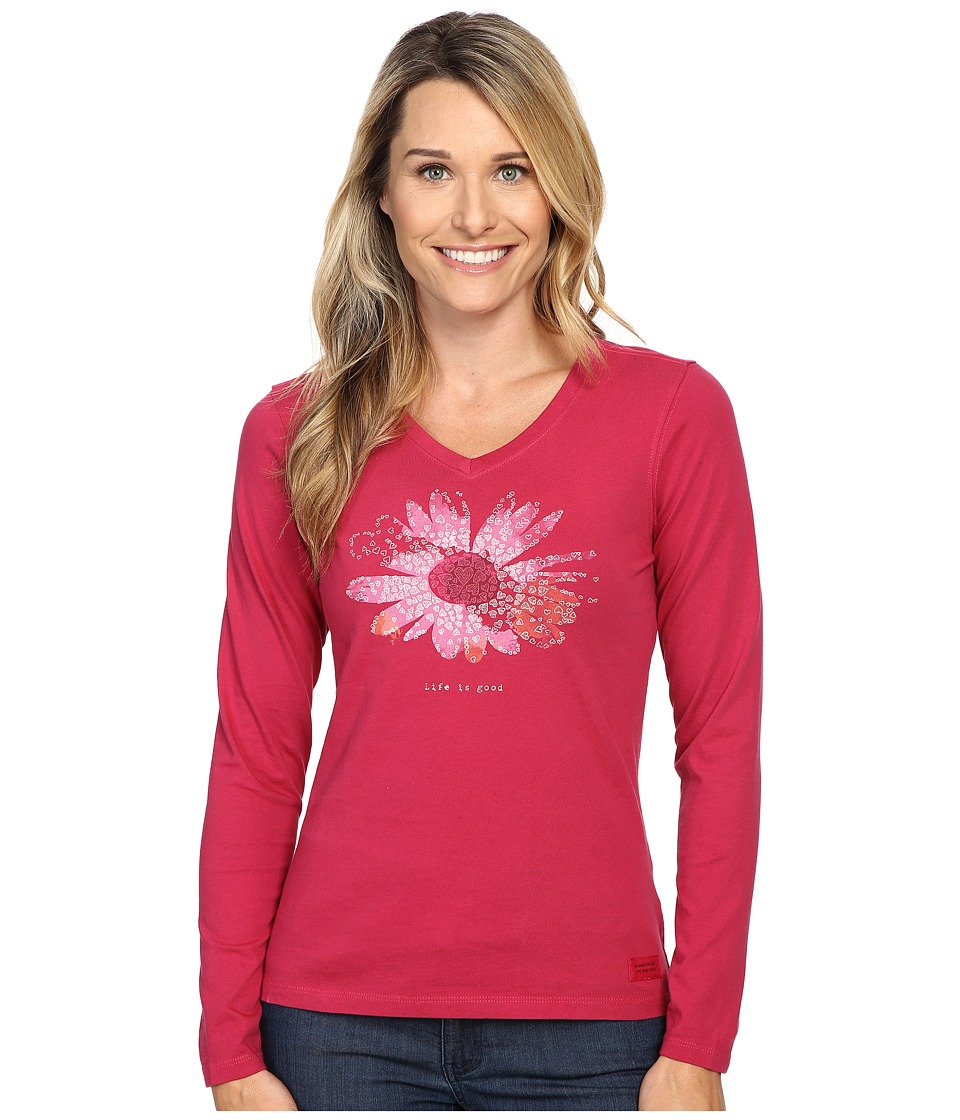 Life is good - Life is Good Flower Long Sleeve Crusher Vee (Rose Berry) Women's Long Sleeve Pullover