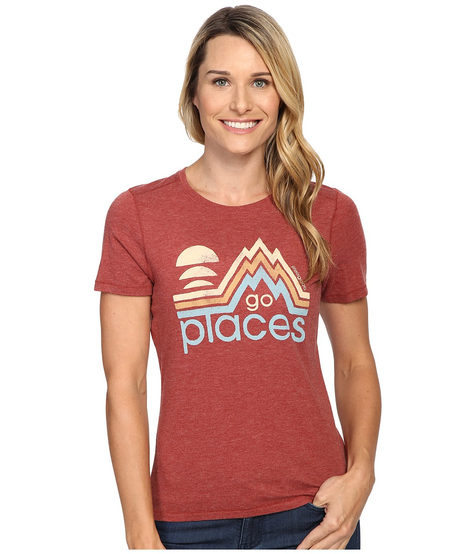 Life is good - Go Places Mountains Cool Tee (Rustic Red) Women's T Shirt