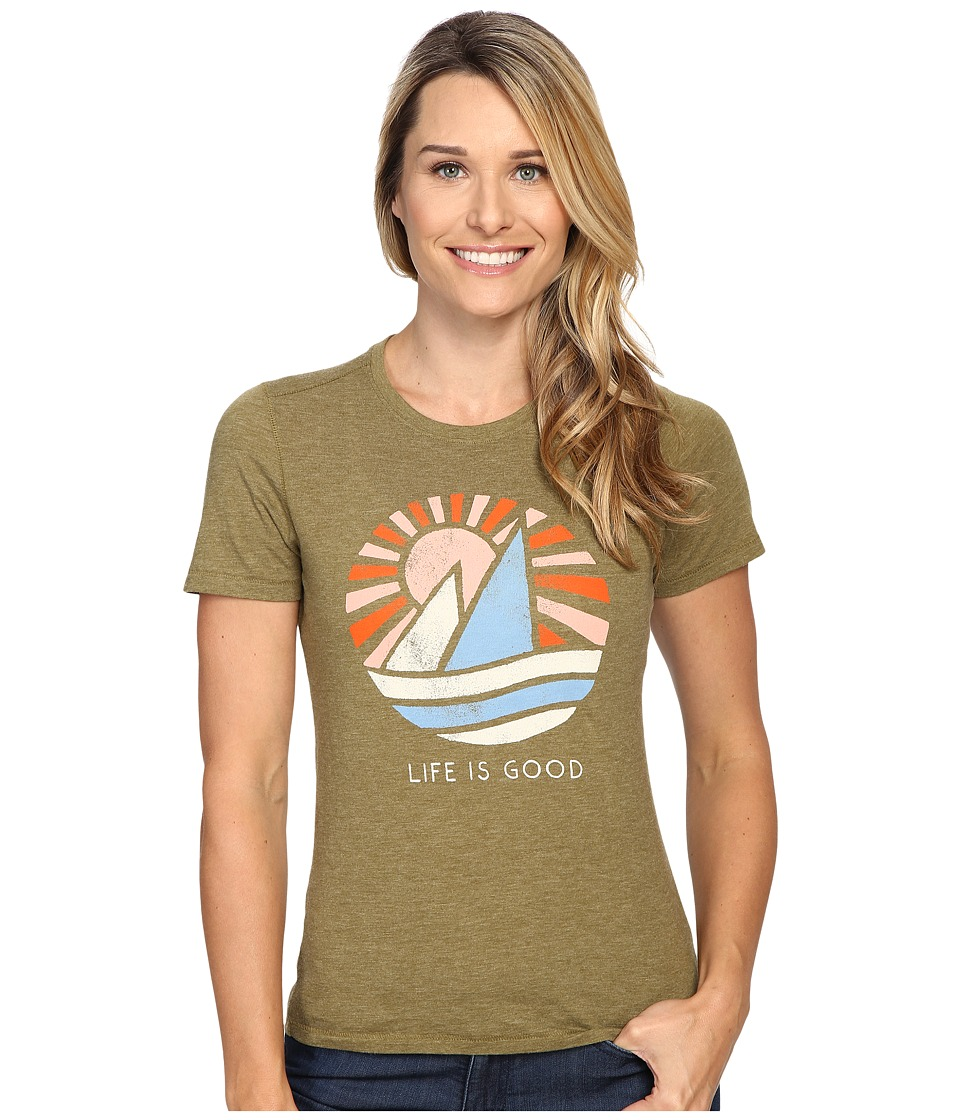 Life is Good Life is Good(r) Sail Boat Cool Tee (Woodland Green) Women