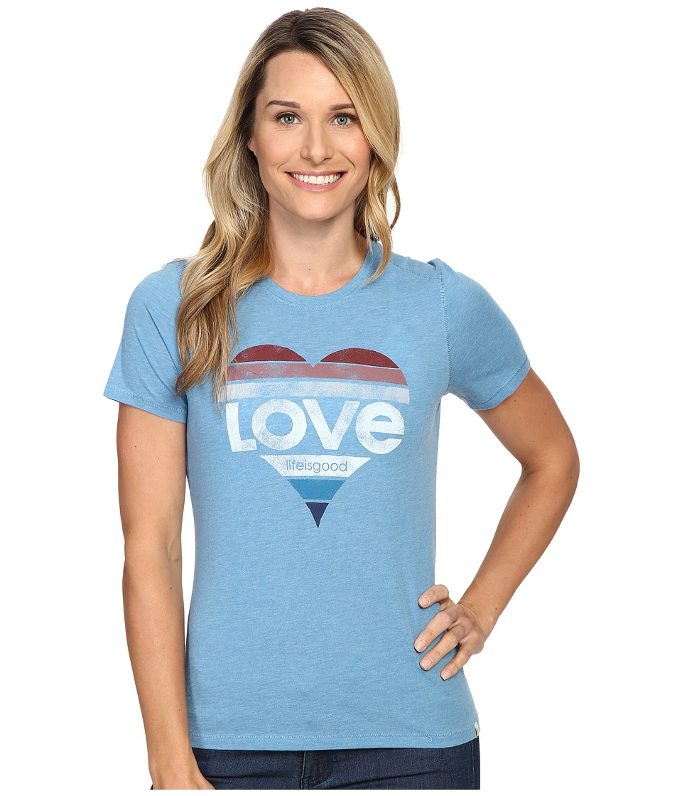 Life is Good Love Heart Cool Tee (Cloud Blue) Women