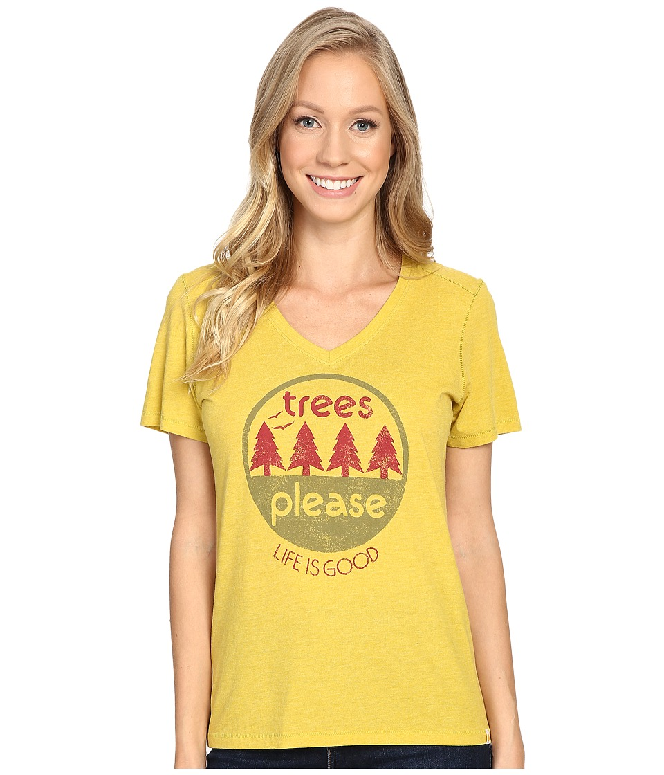 Life is Good Trees Please Circle Cool Vee (Tart Green) Women