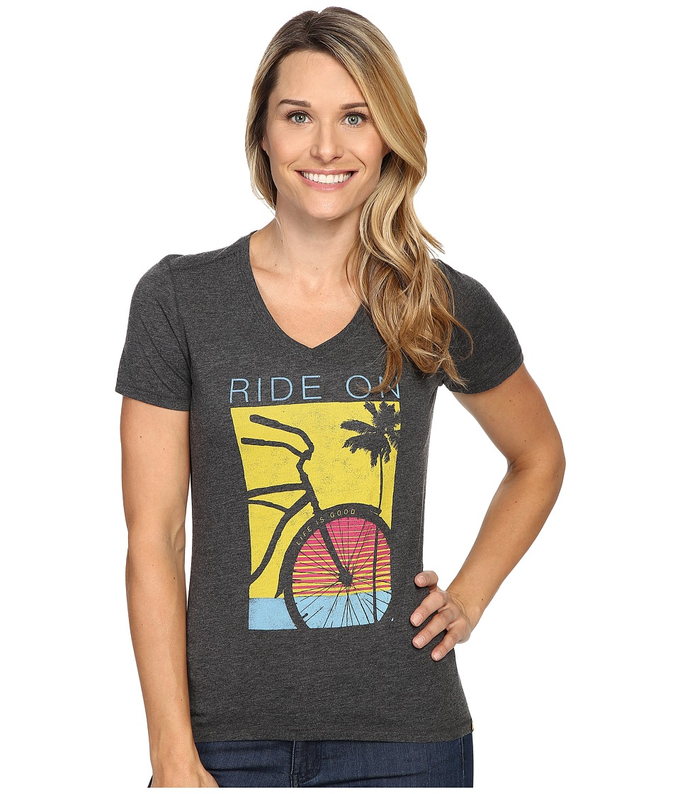 Life is good - Ride On Bike Cool Vee (Night Black) Women's T Shirt