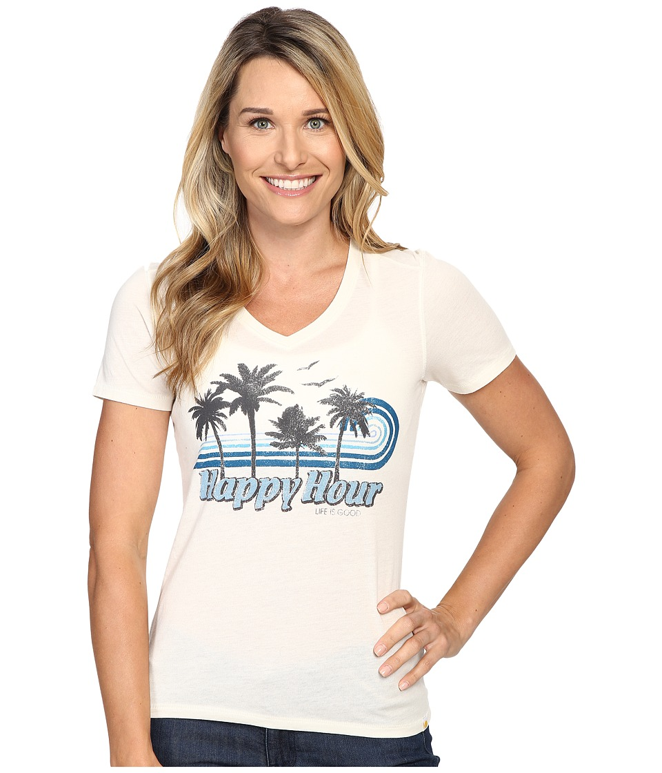 Life is good - Happy Hour Palm Stripe Cool Vee (Simply Ivory) Women's T Shirt