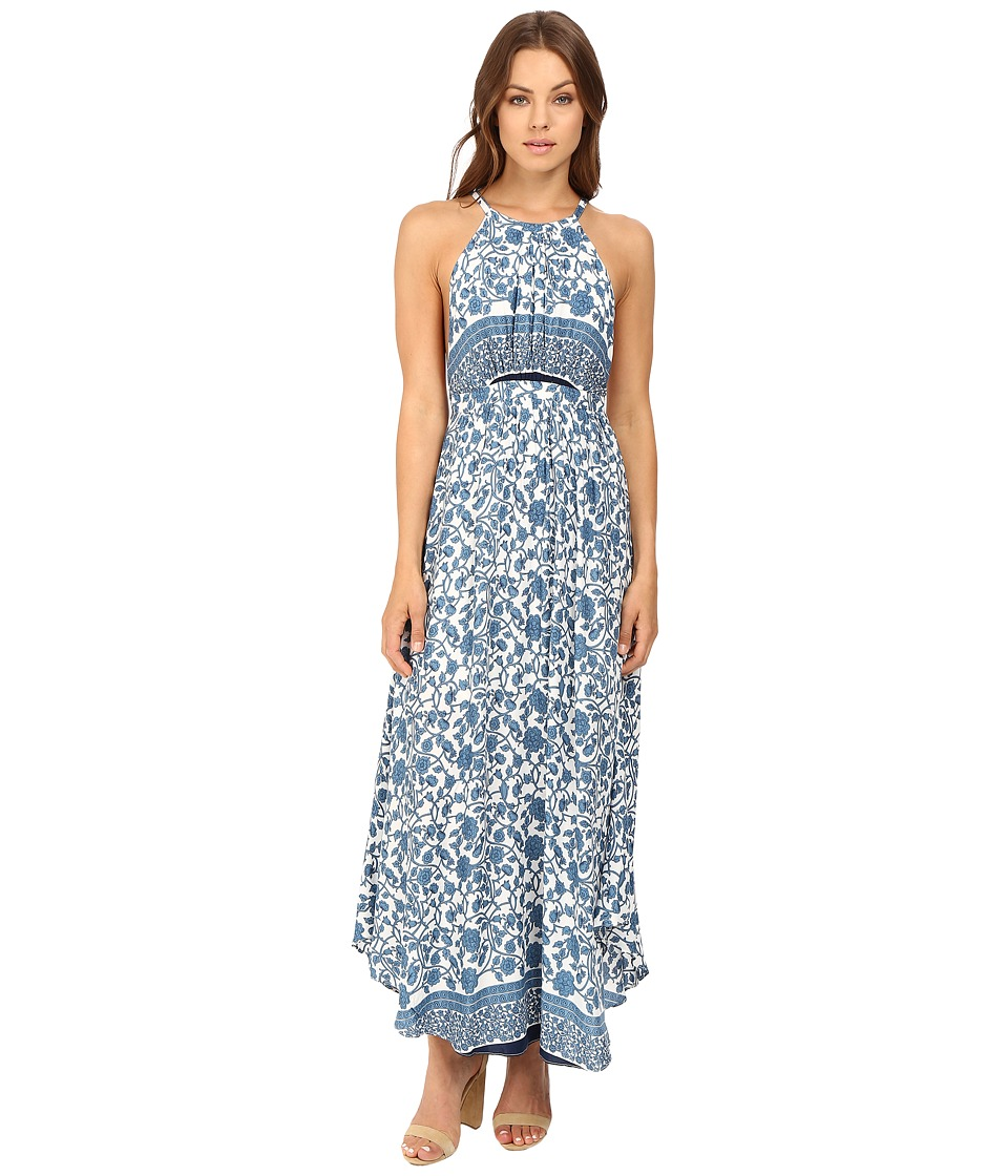 Brigitte Bailey - Simone Backless Maxi Dress (Blue/Ivory) Women's Dress