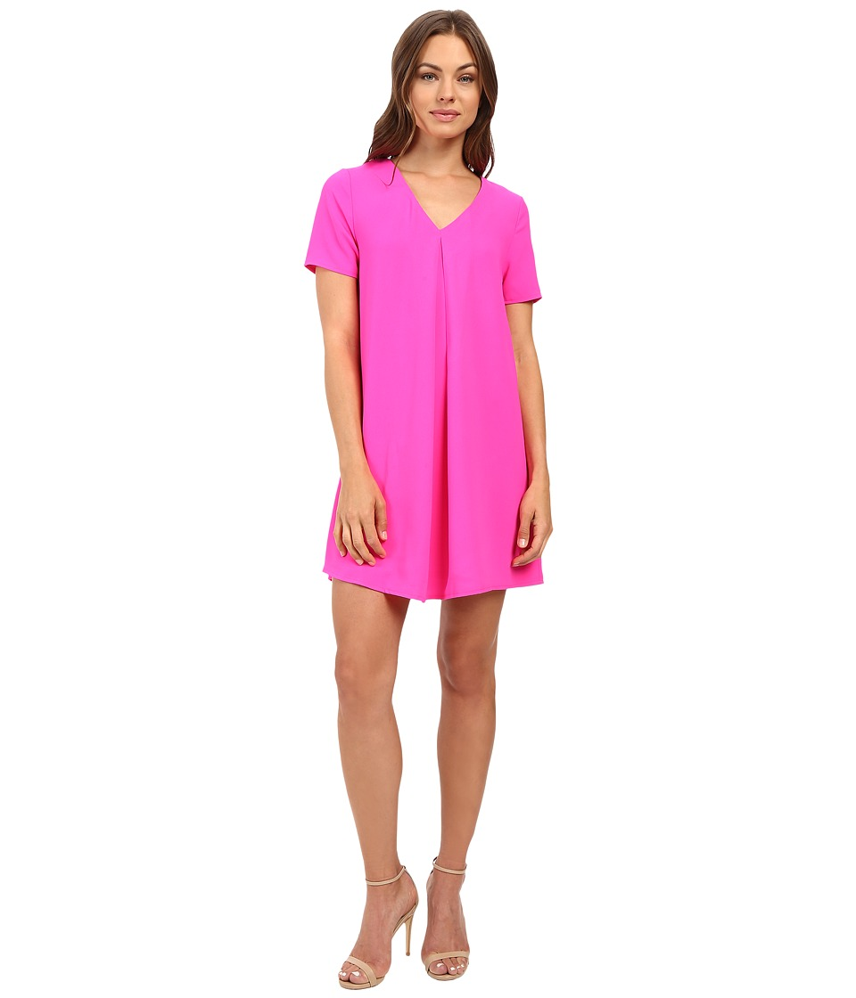 Brigitte Bailey - Austen Short Sleeve Lace-Up Dress (Neon Pink) Women's Dress