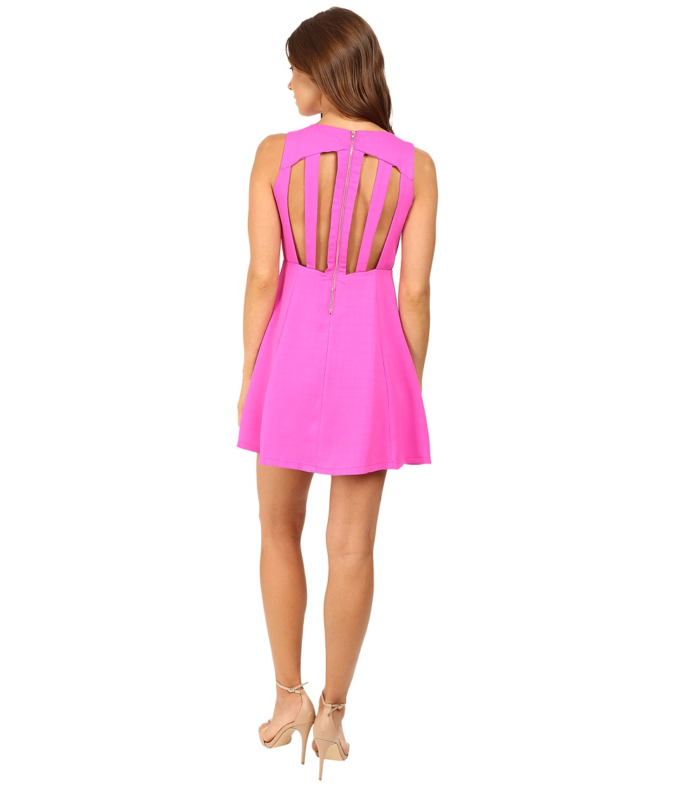 Brigitte Bailey Annistyn Fit and Flare Dress with Back Detail (Fuchsia) Women