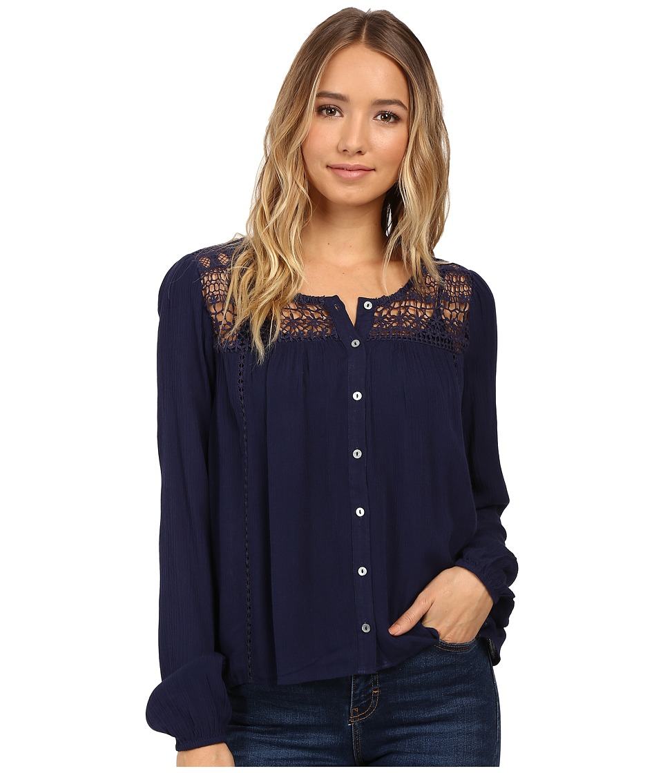 Brigitte Bailey - Fernanda Long Sleeve Top (Navy) Women's Clothing