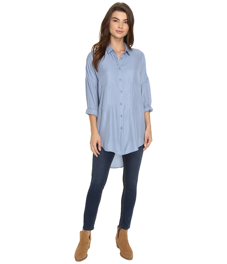 Brigitte Bailey - Danica Button Up Top (Blue) Women's Clothing