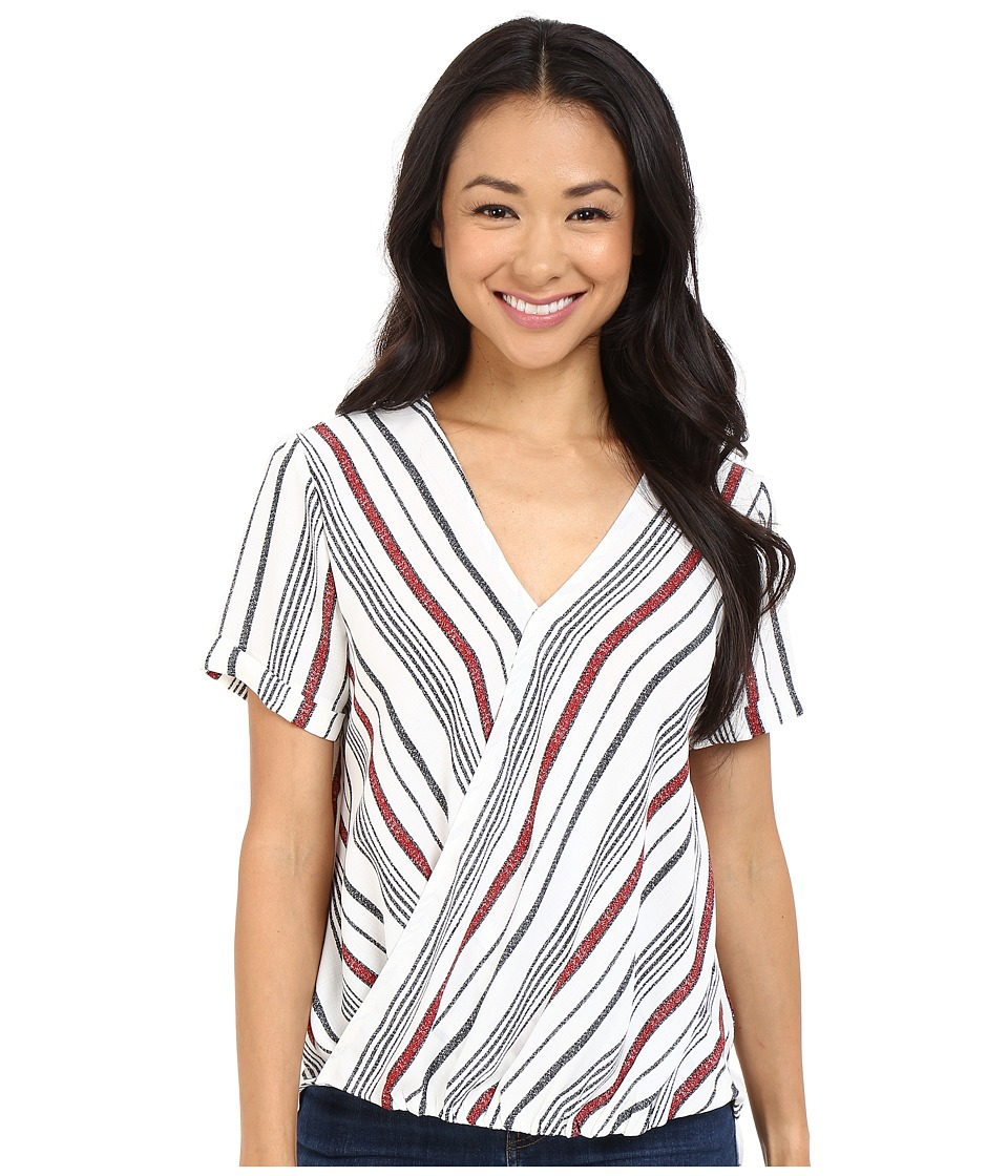 Brigitte Bailey - Annora Short Sleeve Crossover Top (Ivory/Red) Women's Clothing
