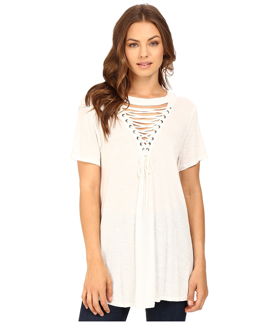 Brigitte Bailey - Lucinda Lace-Up Short Sleeve Top (Off-White) Women's Clothing