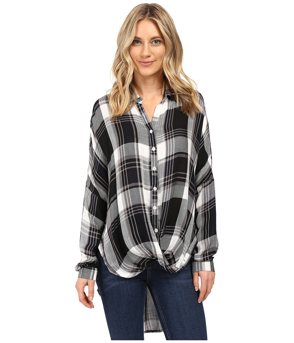 Brigitte Bailey - Tana Long Sleeve Plaid Top (Black/White) Women's Clothing