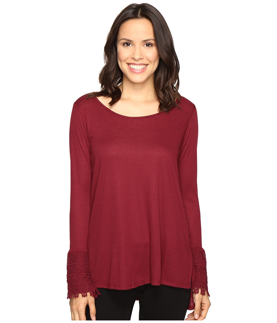 Brigitte Bailey - Taja Long Sleeve Top (Wine) Women's Clothing