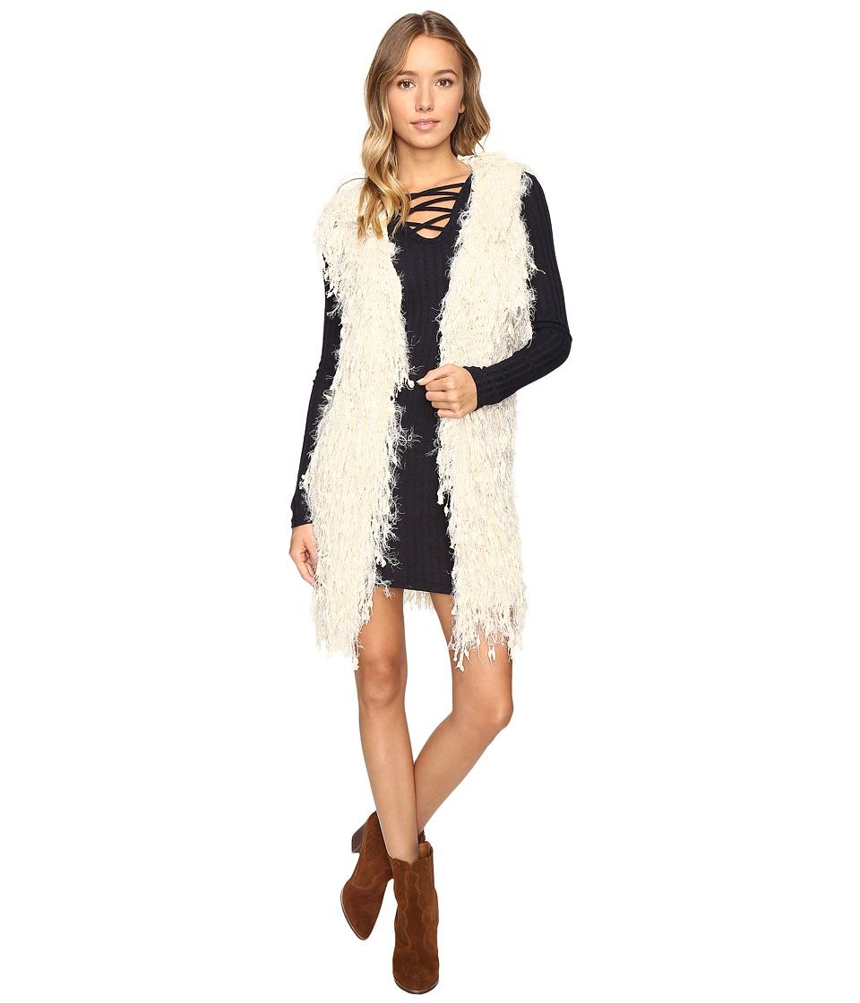 Brigitte Bailey - Noemi Fringe Sweater Jacket (Light Beige) Women's Coat