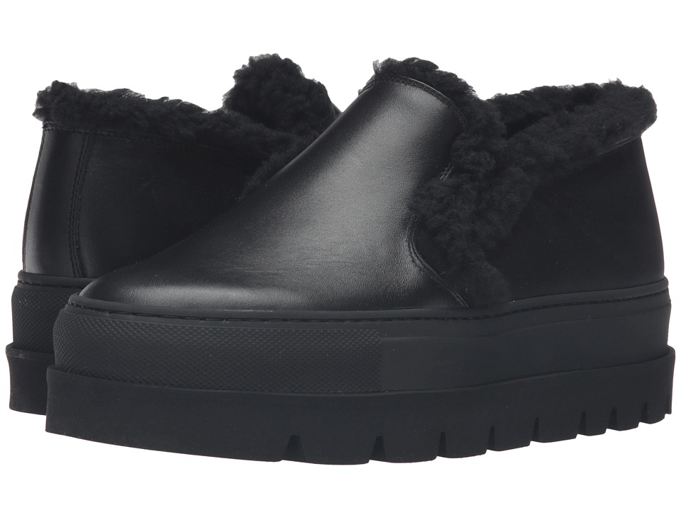 MM6 Maison Margiela - Platform Shearling Trim Sneaker (Black Leather/Black Teddy) Women's Shoes