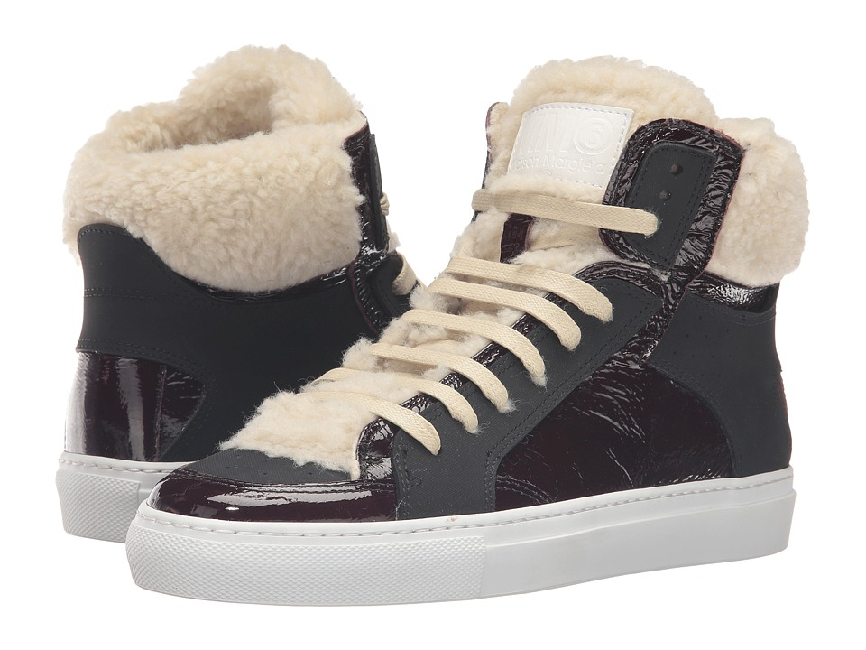 MM6 Maison Margiela - Shearling Trim High Top (Bordeaux/Beige Teddy/Black) Women's Shoes