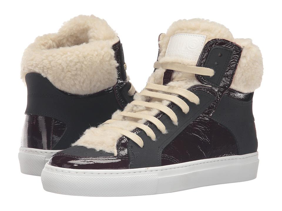 MM6 Maison Margiela - Shearling Trim High Top (Bordeaux/Beige Teddy/Black) Women's Shoes