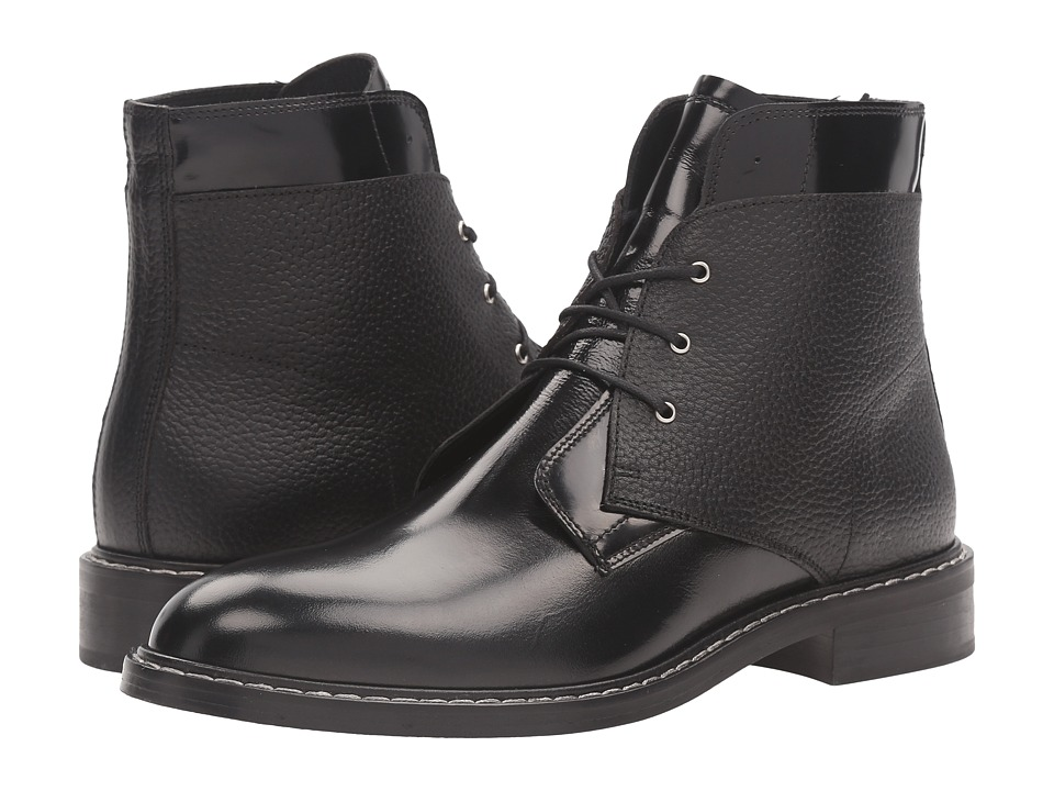 MM6 Maison Margiela - Lace Front Flat Boot (Black Spazzolato/Leather) Women's Shoes