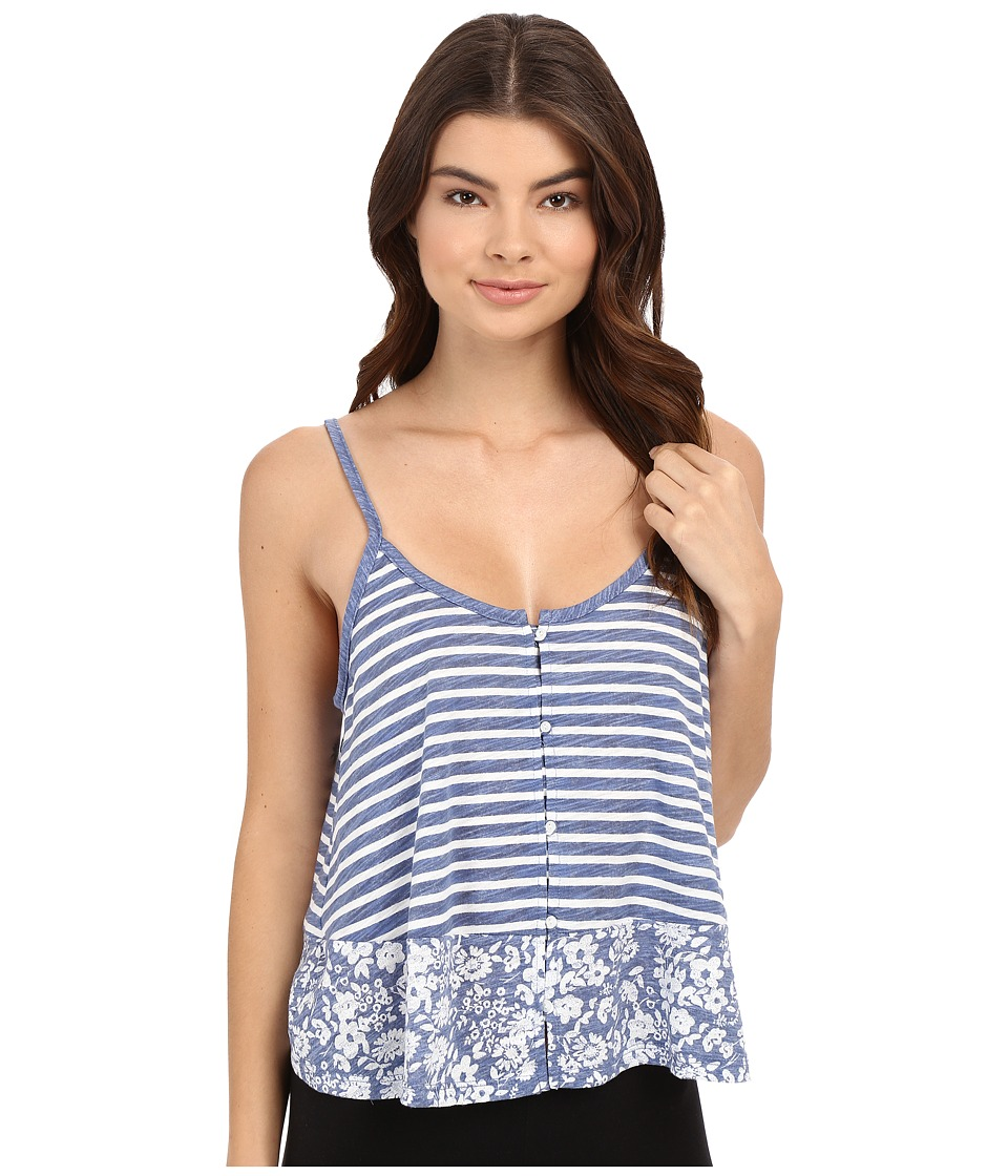 Jane & Bleecker - Slub Tank Top 3501159 (Blue Heather Stripe/Floral) Women's Pajama