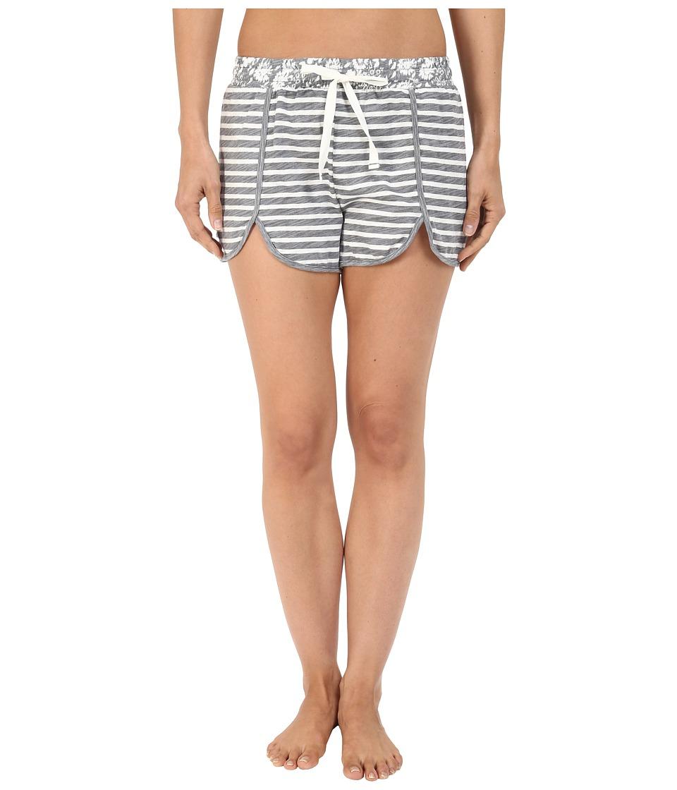 Jane & Bleecker - Slub Shorts 3571159 (Grey Heather Stripe/Floral) Women's Pajama