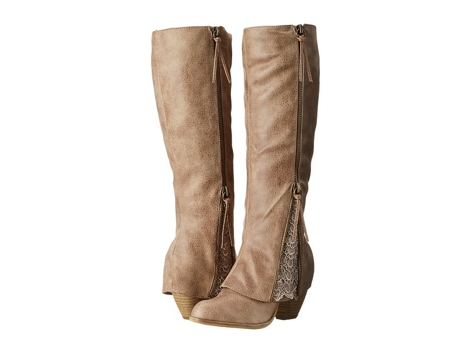 Not Rated - Sassy Classy (Taupe) Women's Zip Boots