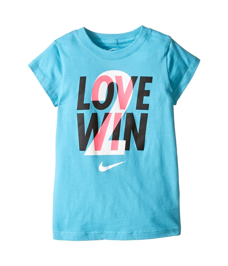 Nike Kids - Love 2 Win Short Sleeve Tee (Toddler) (Omega Blue) Girl's T Shirt