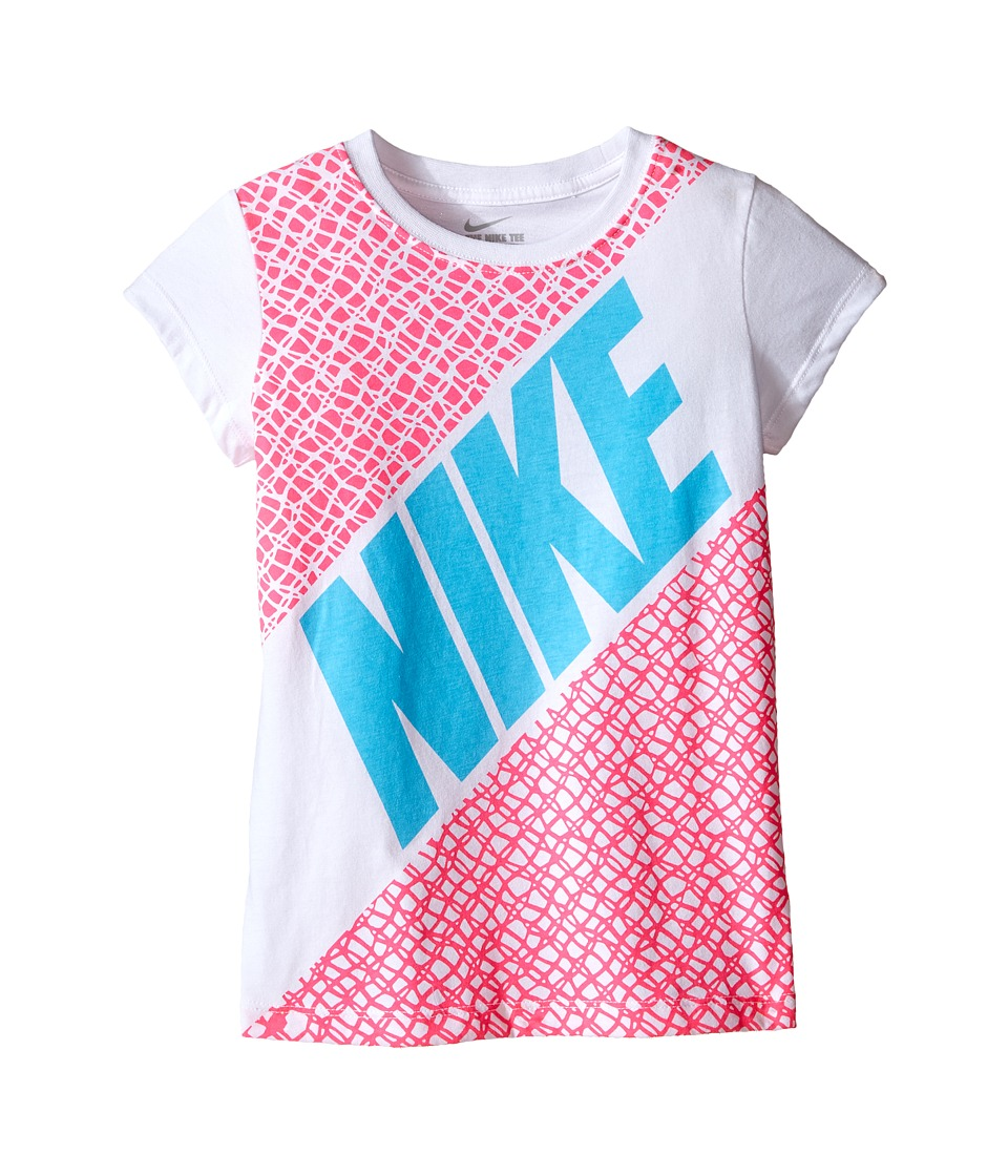 Nike Kids - Lynx Block Short Sleeve Tee (Little Kids) (White) Girl's T Shirt