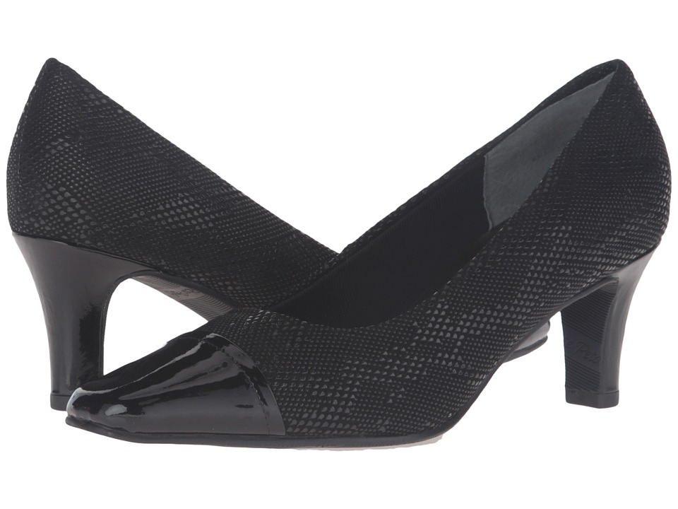 Rose Petals - Race (Black Textured Teardrop Leather) High Heels