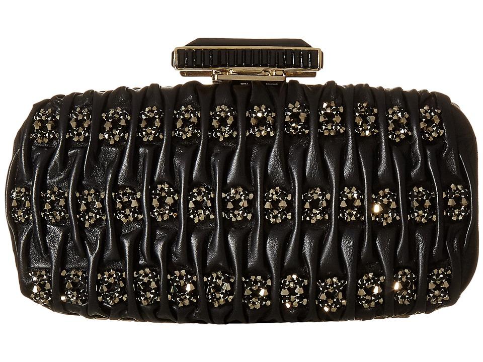 Oscar de la Renta - Goa Leather (Black Embroidered Leather) Clutch Handbags