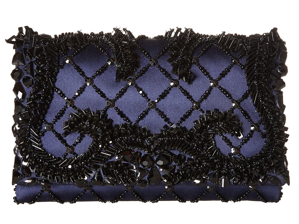 Oscar de la Renta - Petite Evening (Midnight Embroidered Satin) Clutch Handbags
