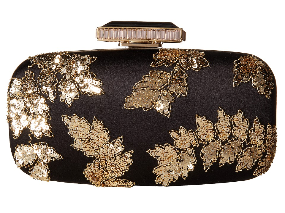 Oscar de la Renta - Goa Embroidered (Black/Gold Embroidered Satin) Clutch Handbags