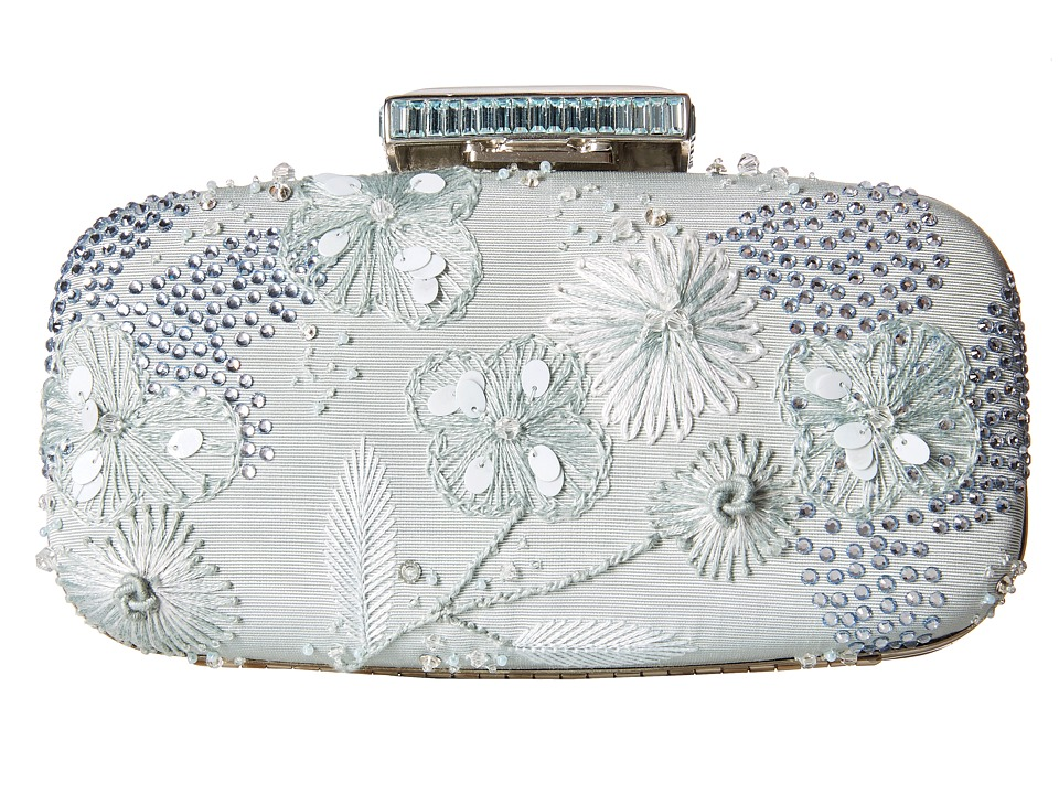 Oscar de la Renta - Goa Embroidered (Ice Blue Embroidered Satin) Clutch Handbags