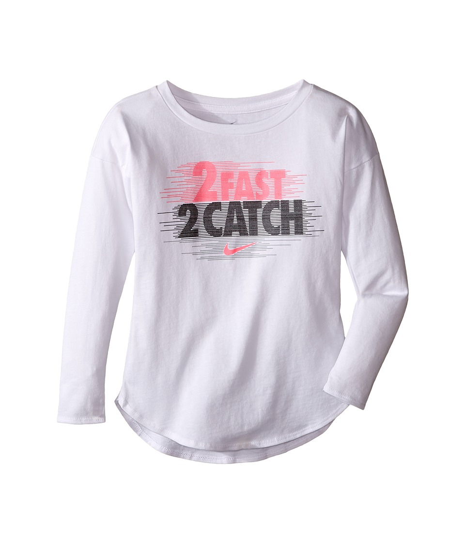 Nike Kids - 2 Fast 2 Catch Modern Long Sleeve Tee (Toddler) (White) Girl's Clothing
