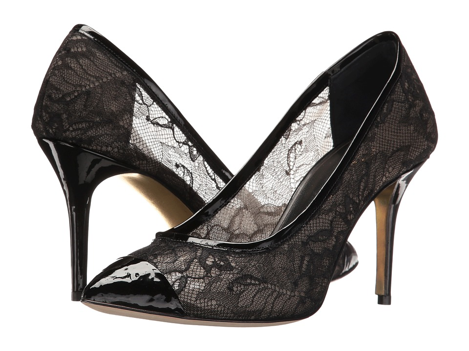 Oscar de la Renta Willow 85mm (Black Lace/Patent Leather) Women